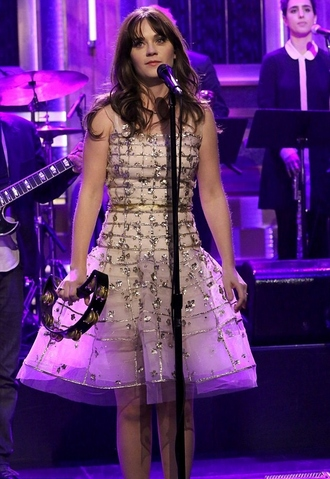 dress sparkly glitter dress glitter sparkly dress zooey deschanel prom dress