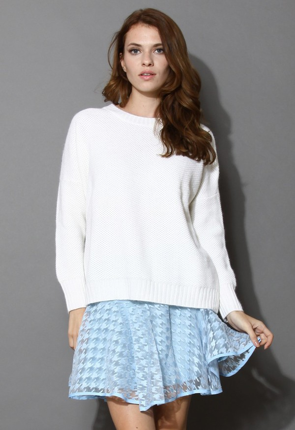 chicwish premium angora waffles knitted sweater