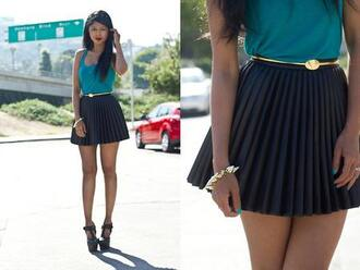 skirt blue belt gold tank top shirt blouse shoes black heels summer swag pleated skirt dark blue skirt bracelets spikes platform shoes summer outfits