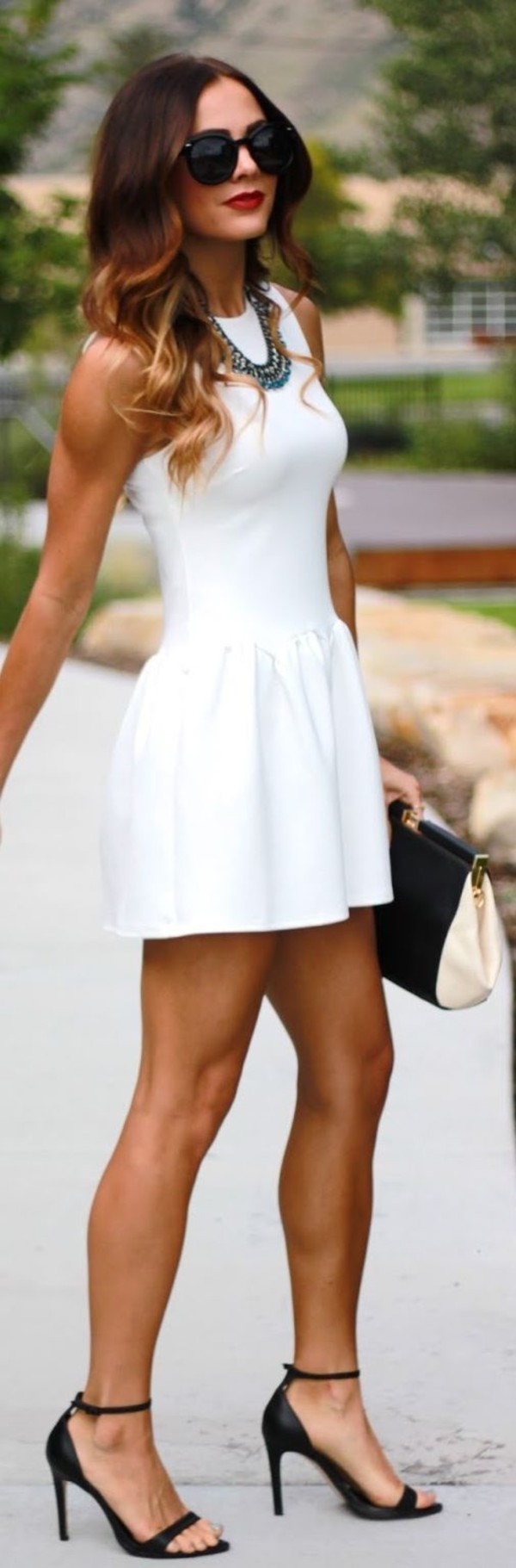 dress clothes sunglasses shoes white white dress short jewels little white dress black shoes black sunglasses style cute dress cute summer peplum elegant high neck fit and flare dress sleevless dress white mini dress beautiful