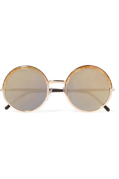 Cutler and Gross rose gold rose sunglasses gold leather brown