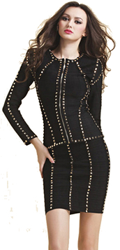 dress,dream it wear it,clothes,jacket,black jacket,bandage jacket,skirt,black skirt,bandage skirt,two piece dress set,long sleeves,long sleeve dress,studded,studded dress,gold,black,black dress,party,party dress,sexy party dresses,sexy,sexy dress,party outfits,fall outfits,fall dress,winter outfits,winter dress,spring,spring dress,spring outfits,classy,classy dress,elegant,elegant dress,cocktail,cocktail dress,girly,date outfit