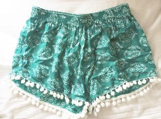 shorts green shorts loose shorts boho bohemian shorts flowered shorts