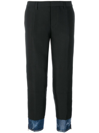 women cotton black silk wool pants