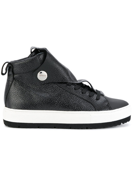 ARMANI JEANS women sneakers leather black shoes