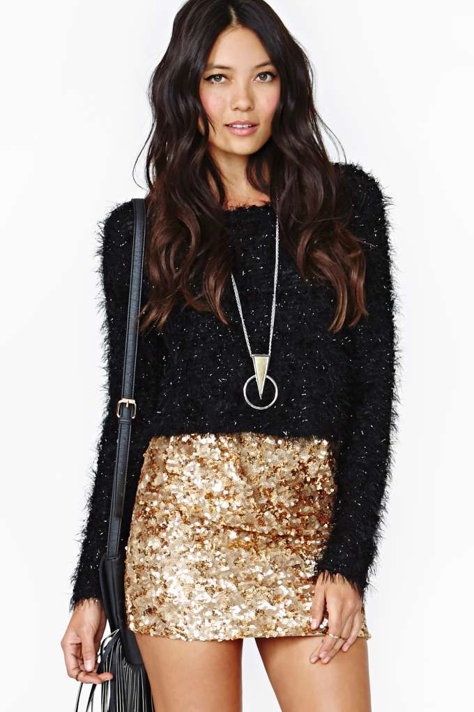 Rare London Gold Crush Sequin Skirt in  Clothes Bottoms Skirts at Nasty Gal