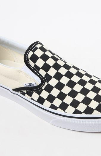 Vans Classic Checkerboard White   Black Slip-On Shoes at PacSun.com 7d06d4139c8c