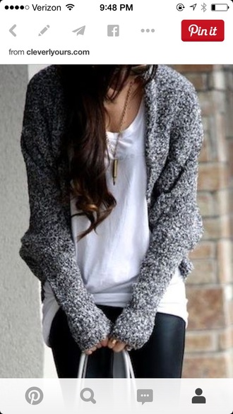 cardigan gray sweater gray cardigan grey top melange thick sweater