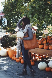 fashionably kay,blogger,cardigan,scarf,dress,shoes,bag,fall outfits,tote bag,booties,brown tote bag,brown bag