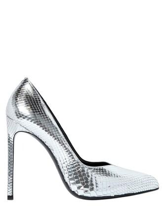 paris pumps leather silver shoes