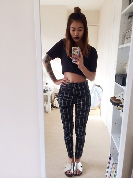 shoes white pants black waist fashion style top cute high high waisted shirt girl crop tops stripes monochrome navy high waisted pants slippers sandals silver top knot selfie blogger sickly ombre tattoo slacks black lipstick