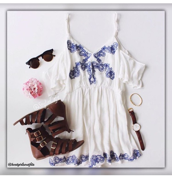 romper sunglasses shoes watch white romper outfit flat sandals
