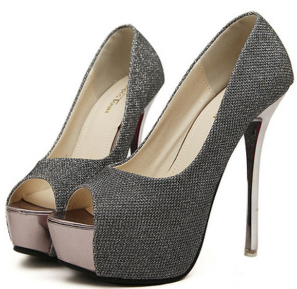shoes sliver heels black wedding party clubwear