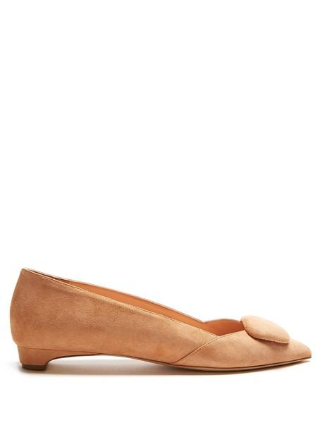 Rupert Sanderson flats suede nude shoes