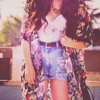 jacket kimono floral floral kimono chiffon blouse jewels shirt shorts belt
