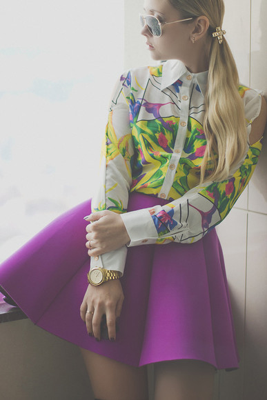 white summer fashion girly gold spring outfit blouse skirt skater a line multi color violet watch long sleeve button up blouse collar sunglasses hair accessory jewelry neon