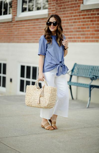 top tumblr tie-front top bag woven bag sandals flat sandals mules pants culottes white pants shoes sunglasses