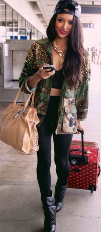 jacket militar studs swag urban studded jacket leggings camouflage jeggings pants army green army red lime sunday