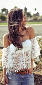 blouse,lace,white,shirt,off the shoulder top,peasant top,sexy,summer outfits,beach,cute,cutr,white off the shoulder top,boho,gypsy,festival,white shirt,lace top,lace shirt,over shoulder,summer top,top,strapless,white top,women,white lace top