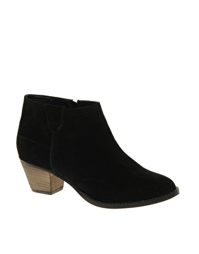 ASOS AUGUST Suede Ankle Boots with Mid Heel at ASOS