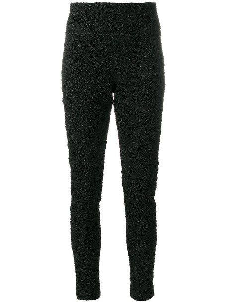 oscar de la renta women spandex black silk pants