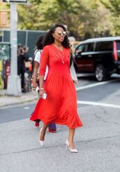 dress,red dress,shoes,sunglasses,summer dress,white pumps