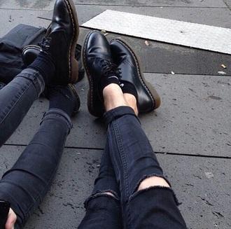 shoes black shoes black boots grunge boots boots little black boots style fashion