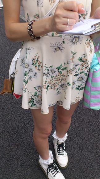 dress cream dress floral flowers floral dress summer dress boots socks ankle socks