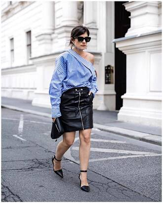 shirt stripes leather skirt shoes tumblr off the shoulder asymmetrical top striped top skirt mini skirt zip zipped skirt bag clutch round sunglasses sunglasses