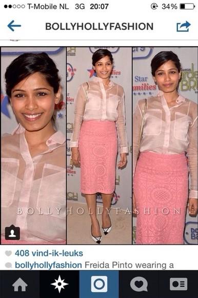 freida pinto blouse pink