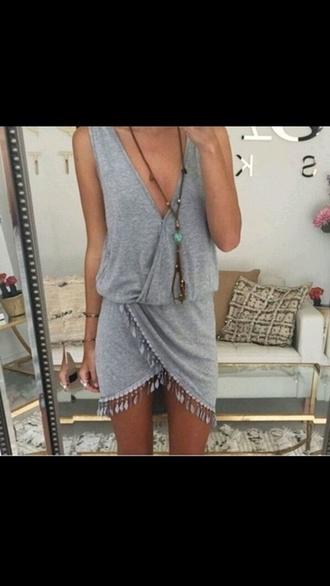 dress grey dress wraped v neck