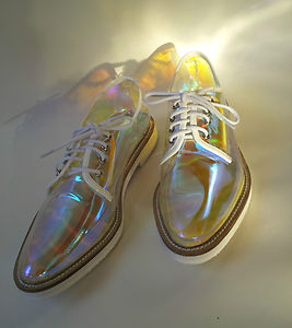 Shoes Oxford Flat Lady's Hologram Holographic Transparent ...