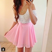 skirt,dress,lace top,skater skirt,circle skirt,pink skirt,white top