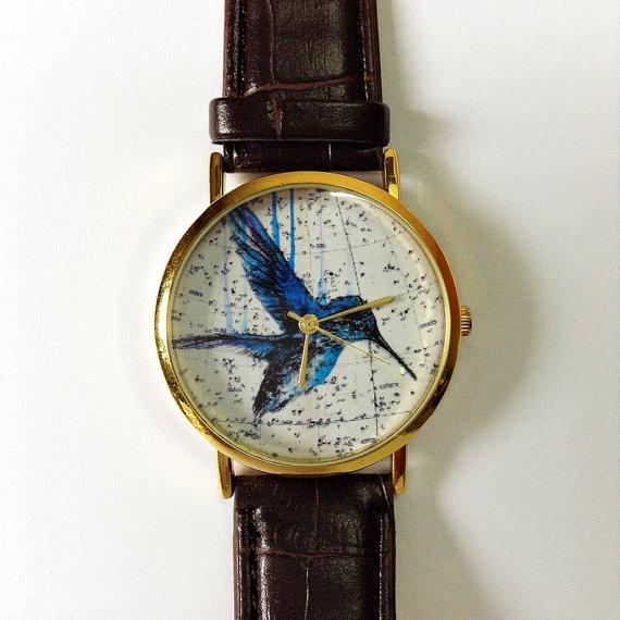 Vintage Hummingbird Watch, Vintage Style Leather Watch, Vintage Map Print, Women Watches, Mens Watch, Boyfriend Watch, Unisex, Brown