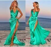 dress,cc_bridal,prom dress,mermaid prom dress,side slit dresses,beautiful green dress,silk satin,ruffle,evening dress,sexy dress