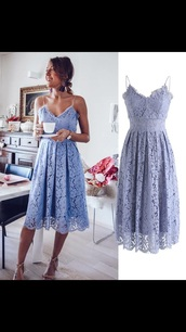 dress,periwinkle,lace dress,strappy