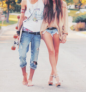 jeans summer t-shirt sweater shoes pants tank top clothes ripped jeans hipter beach denim shorts shorts skater matching couples cute cut off shorts summer outfits guys girly outfits tumblr tumblr girl jewelry platform shoes tumblr blouse vintage pullover hot pants summer shorts
