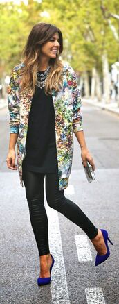 shoes,blue high heels,royal blue,pointed toe,high heels,blue,jewels,jacket,coat,top,floral,classy,smart,blouse,printend jacket,print,print colors,long,white,yellow,red,pinterest,style,fashion,floral jacket