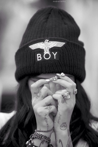 hat boy london beanie black black beanie black and gold