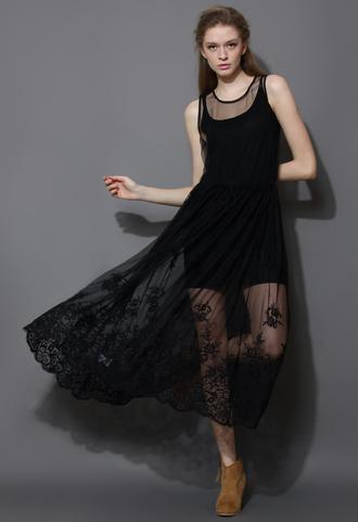 dress premium black mesh crochet smock maxi