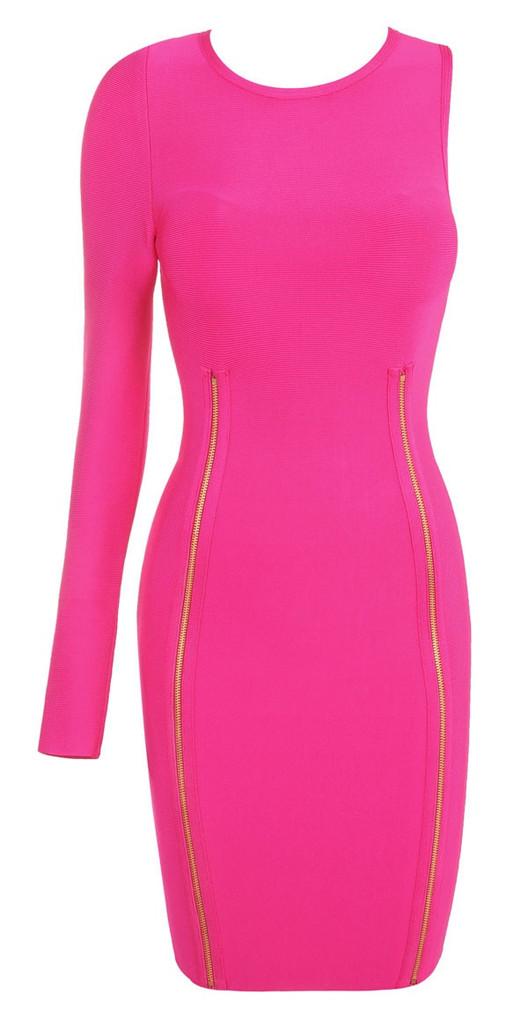 Hot pink one sleeve bandage dress – starrsboutique