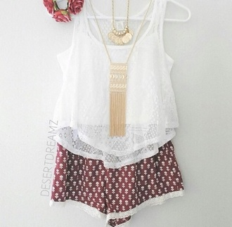 shorts fashion tops shirts chic outfils lovely jewels