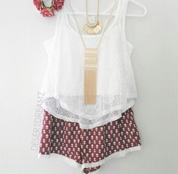 shorts fashion top shirt chic outfils lovely jewels