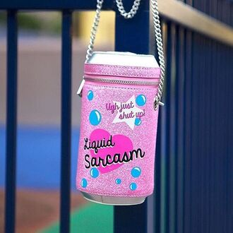 bag nastygal soda liquid sarcasm purse shoulder bag silver chain glitter pink metallic soda can zip closure fashion style trendy
