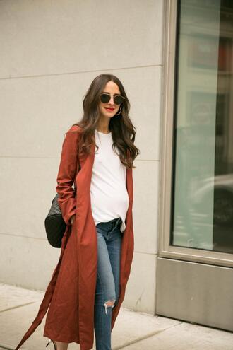 something navy blogger jacket t-shirt jeans shoes jewels sunglasses coat