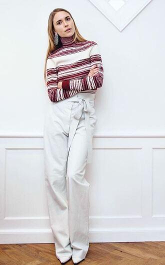 sweater blouse turtleneck pants blogger white pants pernille teisbaek instagram