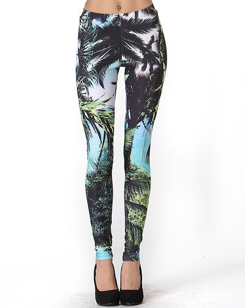 """run away"" vacation palm trees print leggings – glamzelle"