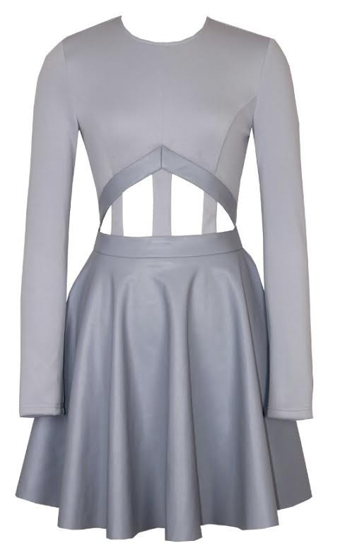 Bonded caged grey cutout skater dress – glamzelle