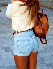 shorts,clothes,girly,summer outfits,bag,belt,sweater,cuffed shorts,high waisted,denim