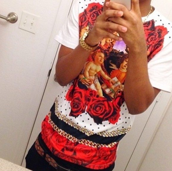 religious t-shirt red roses chain bible trill polka dots